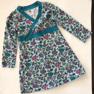 TEA Collection Floral Bird Print Wrap Neck Dress